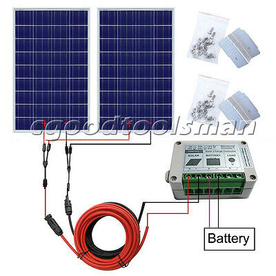 200W KIT: 2×100W Solar Panel+Controller Off Grid System for Home Camping Battery