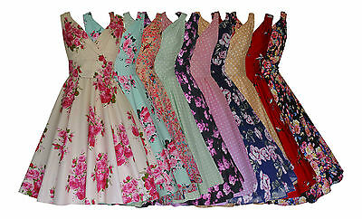 40's 50's Vintage Style Flared Prom Cocktail Swing Dress Many Prints New  8 - 28