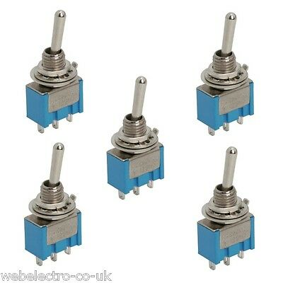 09010 5x SPDT Miniature Toggle Switch 2 Position (ON-ON) 3A 250V