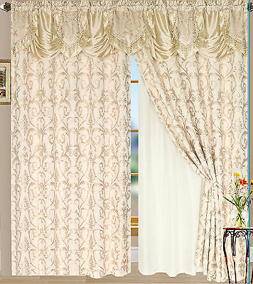 Luxury Lined Curtain Set and Valance Window Treatment 2 Panel 5 Colors Tiffany