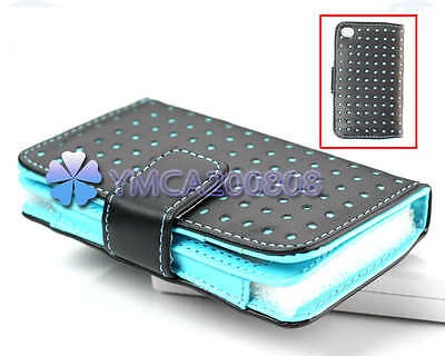 For iPod touch 4 Gen 4th G Blue Dot Leather Wallet Pouch Case Cover Ski