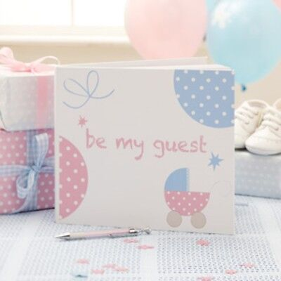 TINY FEET - Guest Book, Baby Shower Message Advice, Pink & Blue Party Supplies,