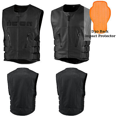 *FAST SHIPPING* ICON Regulator Leather Motorcycle Vest (Black or Black Stripped)