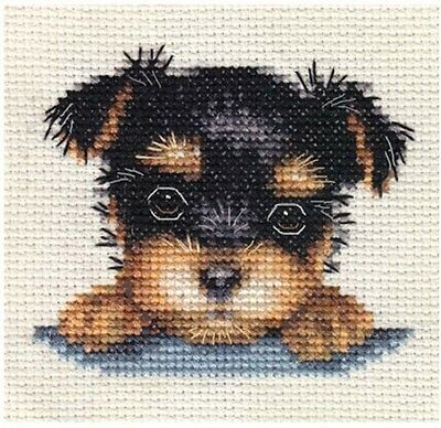 YORKSHIRE TERRIER PUPPY, Dog ~ Full counted cross stitch kit + All materials