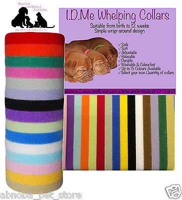 """I.D.Me Whelping Collars Puppy Self Fastening Adjustable Washable Standard 13.5"""""""