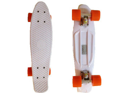 FISH Mini Cruiser Skateboard Banana Board Old School 70s White Deck Orange Wheel