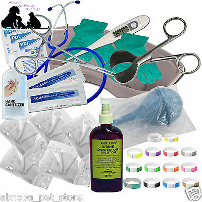 Puppy Dog Whelping Kit Cord Scissors Clamps Aspirator Iodine Collars 52 + Items