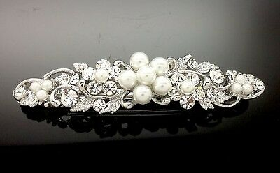 Exquisite Pearl Crystal Rhinestone Hair Clip Barrette Comb 7cm Wedding Formal