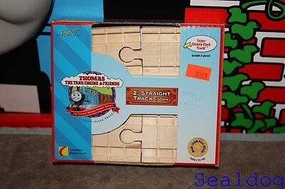 "Thomas Wooden Railway 1996 Clickety Clack  2"" straight track New In Box"