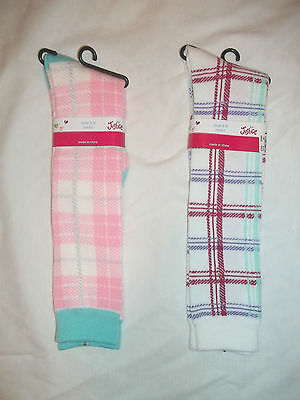 New Justice Plaid/zebra Knee Socks Size S/m Shoe Size 13-5 Or M/l Size 5-9 Shoe
