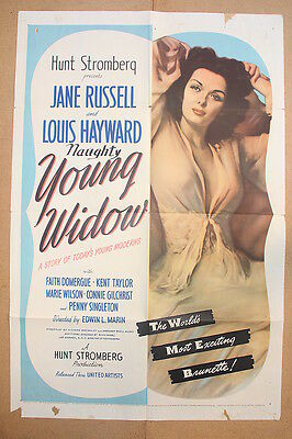 YOUNG WIDOW '46 Original OS Movie Poster JANE RUSSELL & LOUIS HAYWARD
