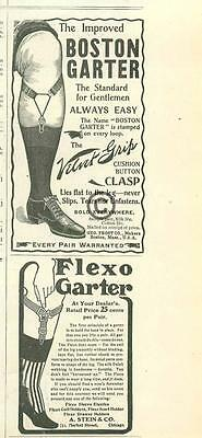 1901 Mens Stockings Velvet Boston Garter Geo Frost A. Stein Flexo ADS Chicago
