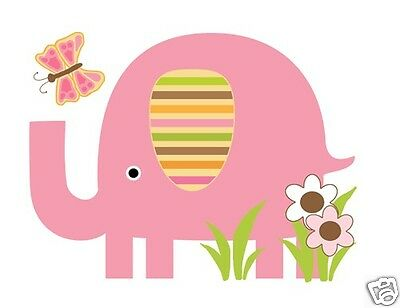 Mod Elephant Wall Mural Decals Baby Girl Nursery Kids Room Jungle Stickers Decor