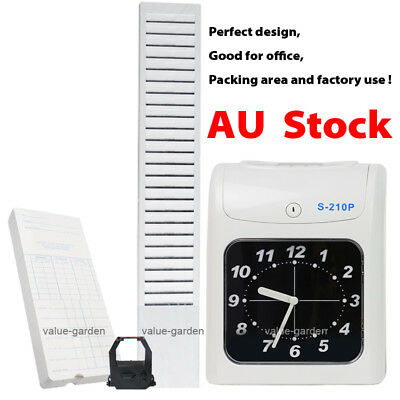 New Electronic Employee Time Attendance Bundy Clock Recorder + Rack + Timecards