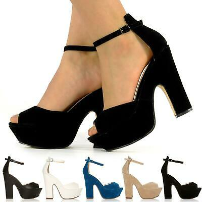 New Block Heel Sandal Shoes Ankle Strap Wedge Open Boot Ladies Size 3-8Uk