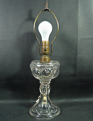 1850s EAPG Flint Glass Converted Oil Lamp- EYEBROW- Arches, Panels, Beading