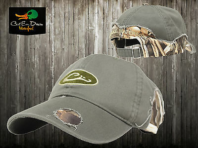 5e20ab74c75 Drake Waterfowl Distressed Cotton Logo Ball Cap Hat Olive And Max4 Camo