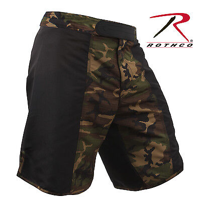 US Military Army USMC Woodland Forest Camo Black MMA UFC WWE Fighting Shorts