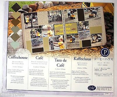CREATIVE MEMORIES 12 X 10 Coffeehouse Printed Photo Mounting Paper - 12 Sheets