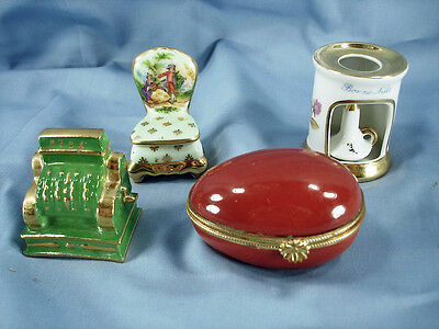 LOT OF FOUR FRENCH LIMOGES MINIATURES & BOXES- EGG, CASH REGISTER, WARMER, CHAIR