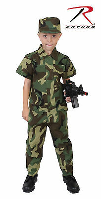 Kids Childrens Boys US Army USMC Soldier Woodland Forest Camo Halloween Costume