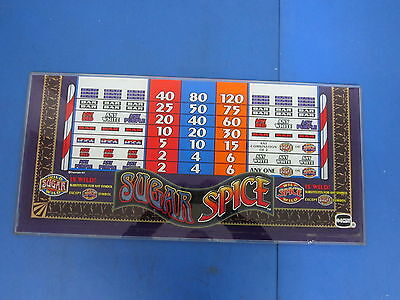 IGT Sugar & Spice Pay Out Chart Topper Slot Machine Casino Glass