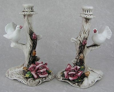 Set of 2 Lg Tall Vtg Capodimonte Rose Dove Branch Candleholder Candlestick Pair
