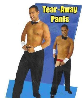 Adult Men Tear Away Rip Off Male Stripper Black Costume Pants Chippendale Dancer