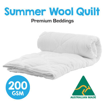 Australian Made Light Weight Luxury Merino Summer Wool Quilt/Duvet/Doona-200GSM