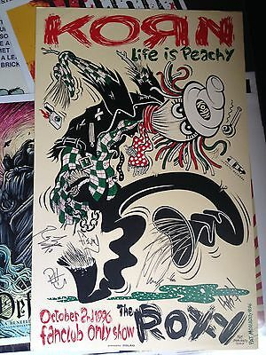 KORN concert poster - SIGNED - VERY RARE! 1996 Life is Peachy Fanclub show