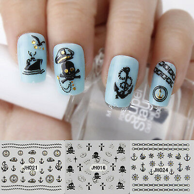 3D Nail Art Stickers Wraps Sailor Michael Jackson Cross Eiffel Tower Paris