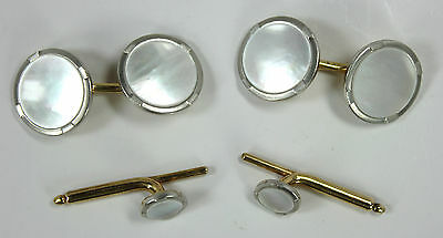 Antique Signed 14k 18k Gold Cufflinks w Mother of Pearl + 2 Studs Set circa 1910