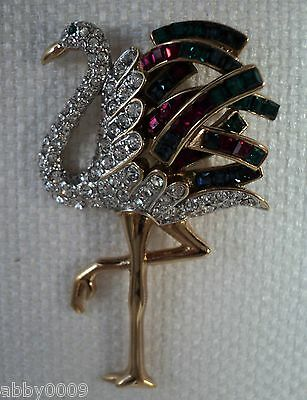 Carolee Dutchess of Windsor Swarovski Crystal Peacock Brooch Pin NEW