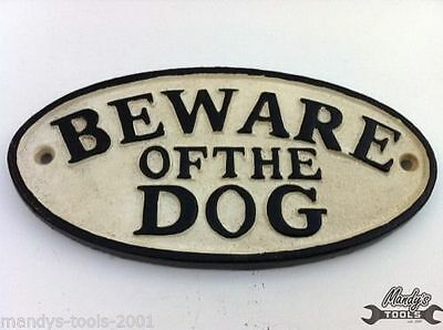 Cast Iron Oval BEWARE OF THE DOG Fence Post Garden Wall Sign Plaque YBWOD