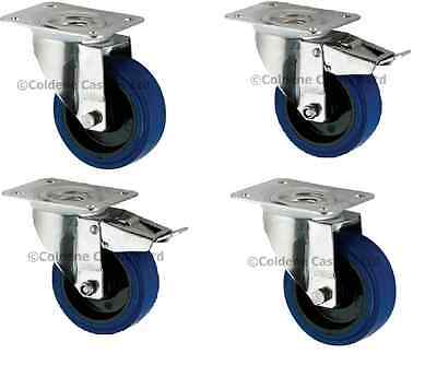 "Industrial Heavy Duty Castor w/ Blue Elastic Rubber, 4-Pack (200MM/8"")"