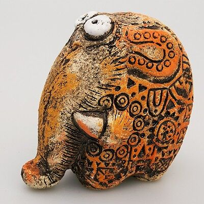 """Decorative collectible Clay Figurine """"Moska the Elephant"""" material: grog ceramic"""