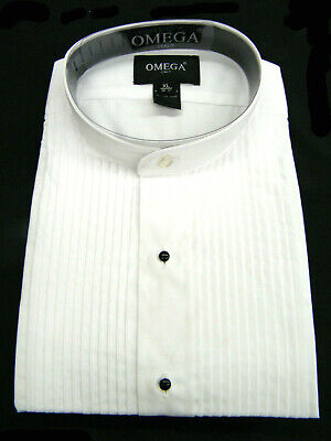 "NEW Men's banded collar(mandarin collar) Tuxedo Shirt with 1/4"" pleat"