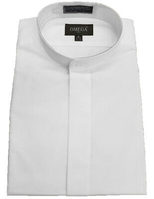 NEW Omega Men's banded collar(mandarin collar) White dress Shirt, non pleat