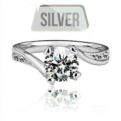925 STERLING SILVER 7mm ROUND CUT CUBIC ZIRCONIA ENGAGEMENT RING -Sz 6, 7 & 9