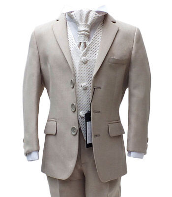Uk Boys Formal 5 Pc Beige Ivory Suits Page Boy Wedding Suit