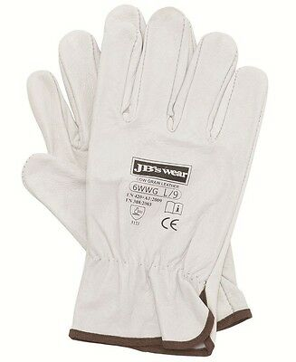5 PACK -10 gloves Riggers Gloves Garden Safety Workwear Natural Cow Hide Leather