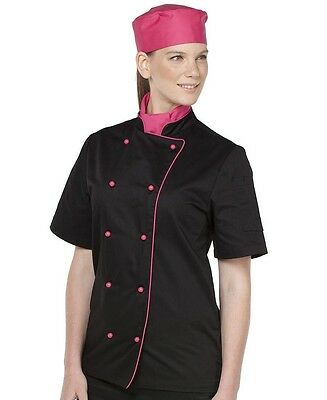 Short Sleeve Chef Jacket Unisex Contrast Piping Restaurants Bars - look the part