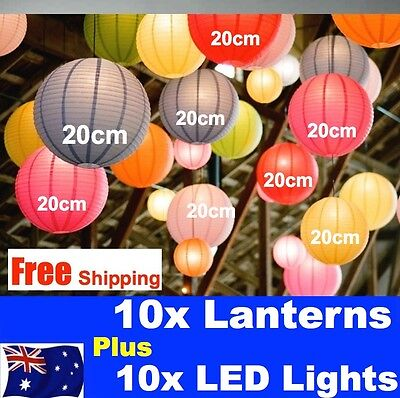 """10x Paper Lanterns & 10x COOL WHITE battery operated LED keyring Lights 8""""/20cm"""