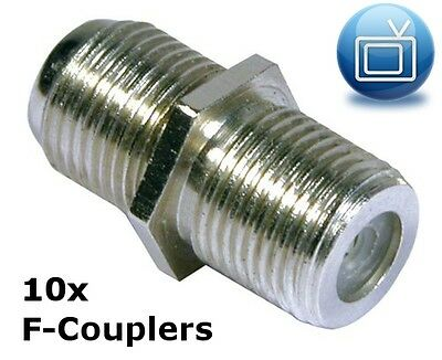 Pack of 10 F-Couplers / F-Joiners / Back to Back Connectors for joining 2 cables