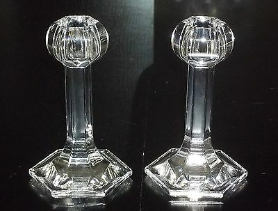 ORREFORS Sweden (2) Pair of GLOBE Crystal Glass CANDLE HOLDERS with Labels