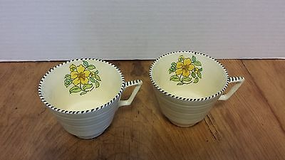 """Crown Ducal  2 coffee cups 2 3/4"""" A3122 Yellow Flower Brown tip edge Art Deco"""