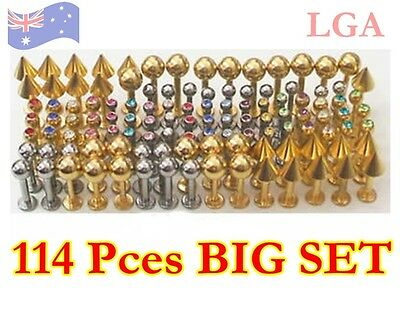 Monroe Labret 114 pce BULK MIX 14g 16g Jewelled Cones Balls 316L Gold Pl. NEW A