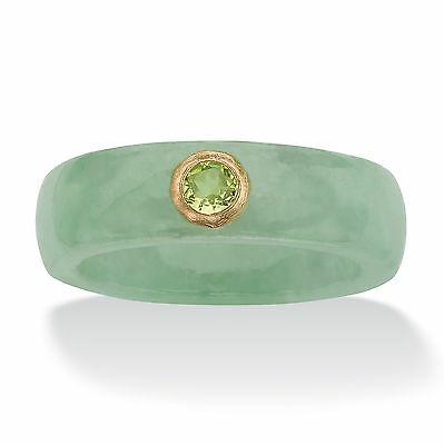 .26 TCW Round Peridot and Green Jade Ring in 10k Gold