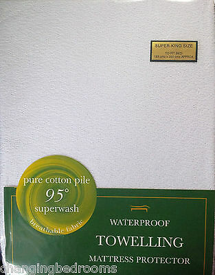 Hotel Quality  Fitted Terry Towelling Waterproof Mattress Protectors All Sizes