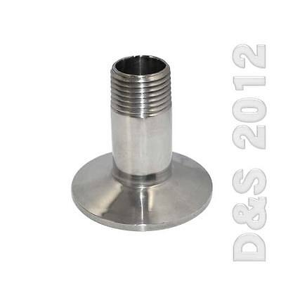"""1/2"""" Sanitary Male Threaded NPT Ferrule Pipe Fitting to 1.5"""" Tri Clamp SS316"""